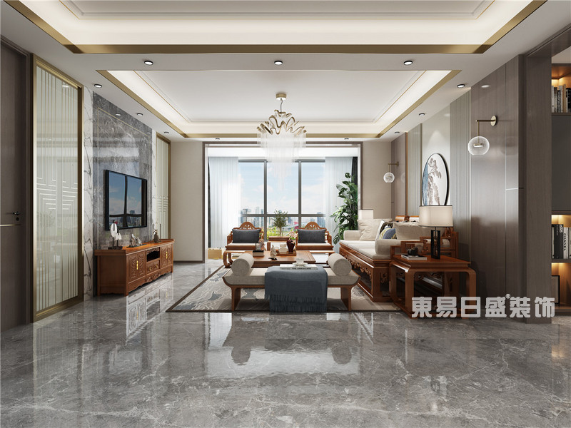 别墅装修设计新中式_客厅