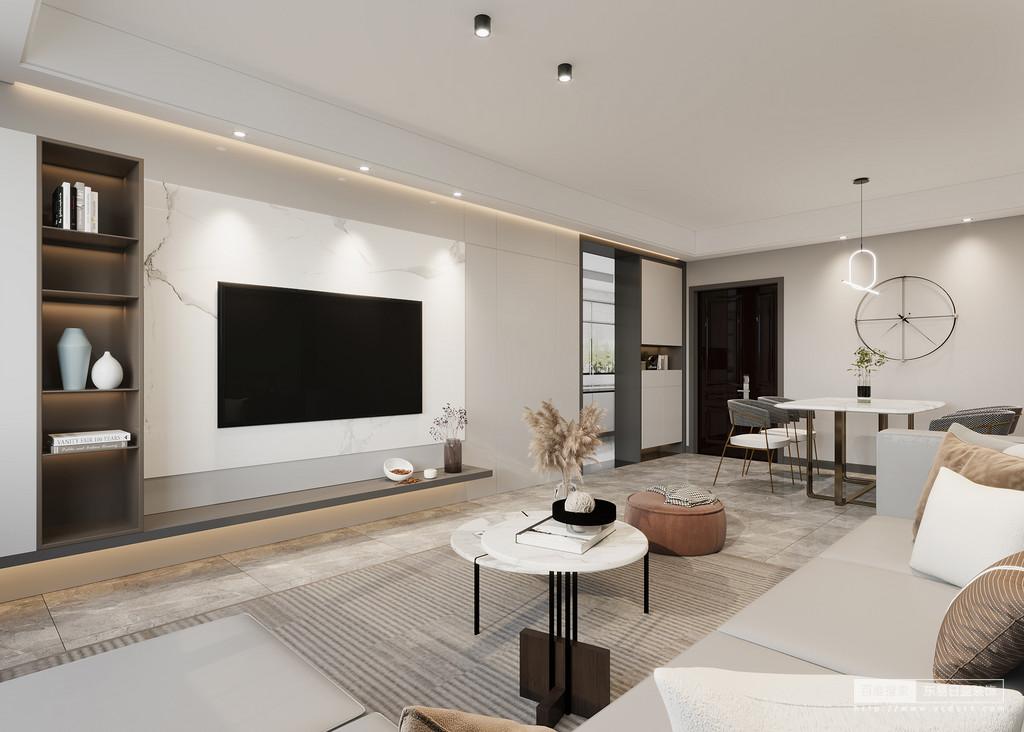 """设计师在简约的空间中糅合自然特性,墙面大量留白且使用自然色系的材料,运用简洁、寂静、单纯、沉着的色调组合,渲染空间的平和清腴。此外,墙面装饰贯穿整个室内,配以地面自然纹理的地面效果,仿佛在努力褪去尘嚣,冲而不薄,淡而有味,同时又保持着""""三分空白""""的空间精髓。"""
