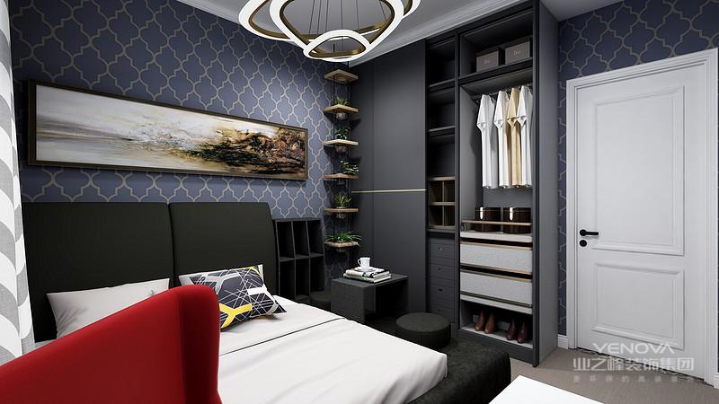 主卧里灰色和深蓝色搭配奠定了雅致复古的北欧格调,床头灯具和柜体是变化的搭配,点缀了金色元素突出精致奢华。