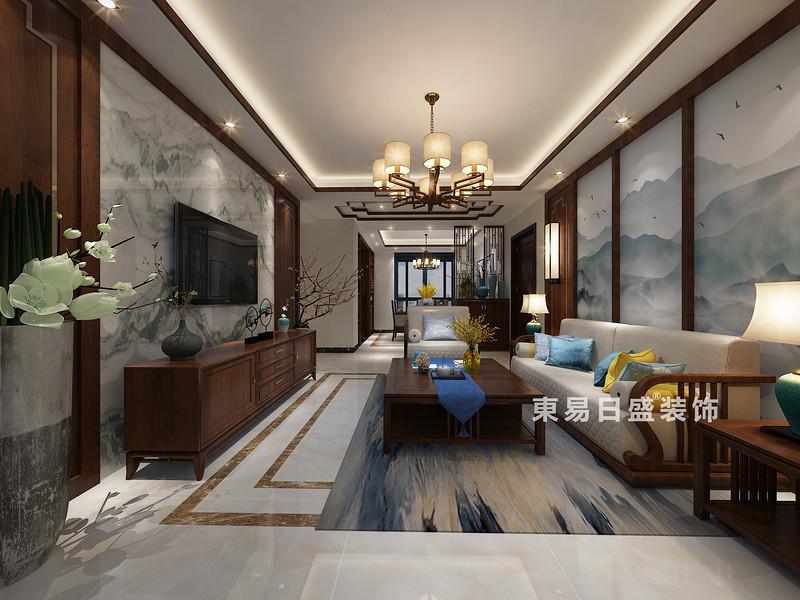 桂林彰泰•清华园四居室120㎡新中式风格:客厅装修设计效果图(侧视)