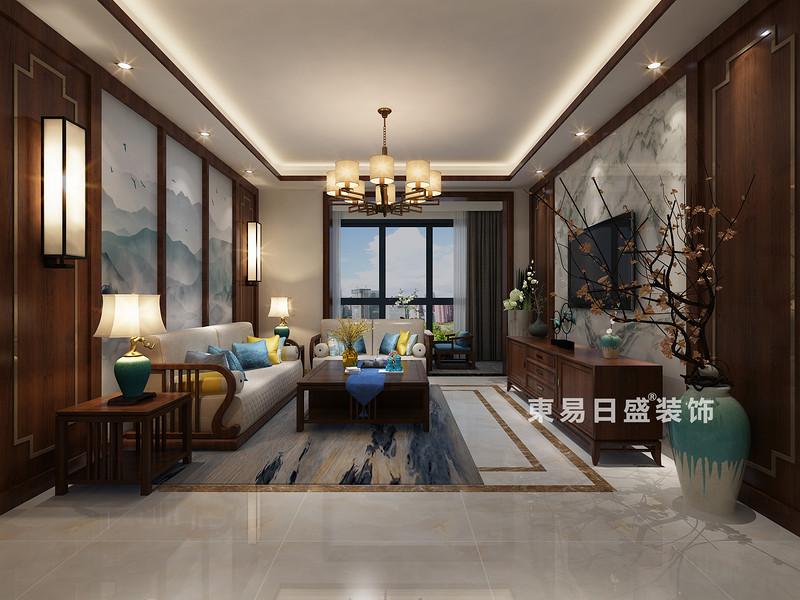 桂林彰泰•清华园四居室120㎡新中式风格:客厅装修设计效果图