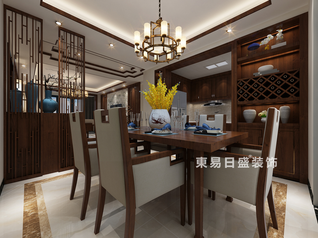 桂林彰泰•清华园四居室120㎡新中式风格:餐厅装修设计效果图