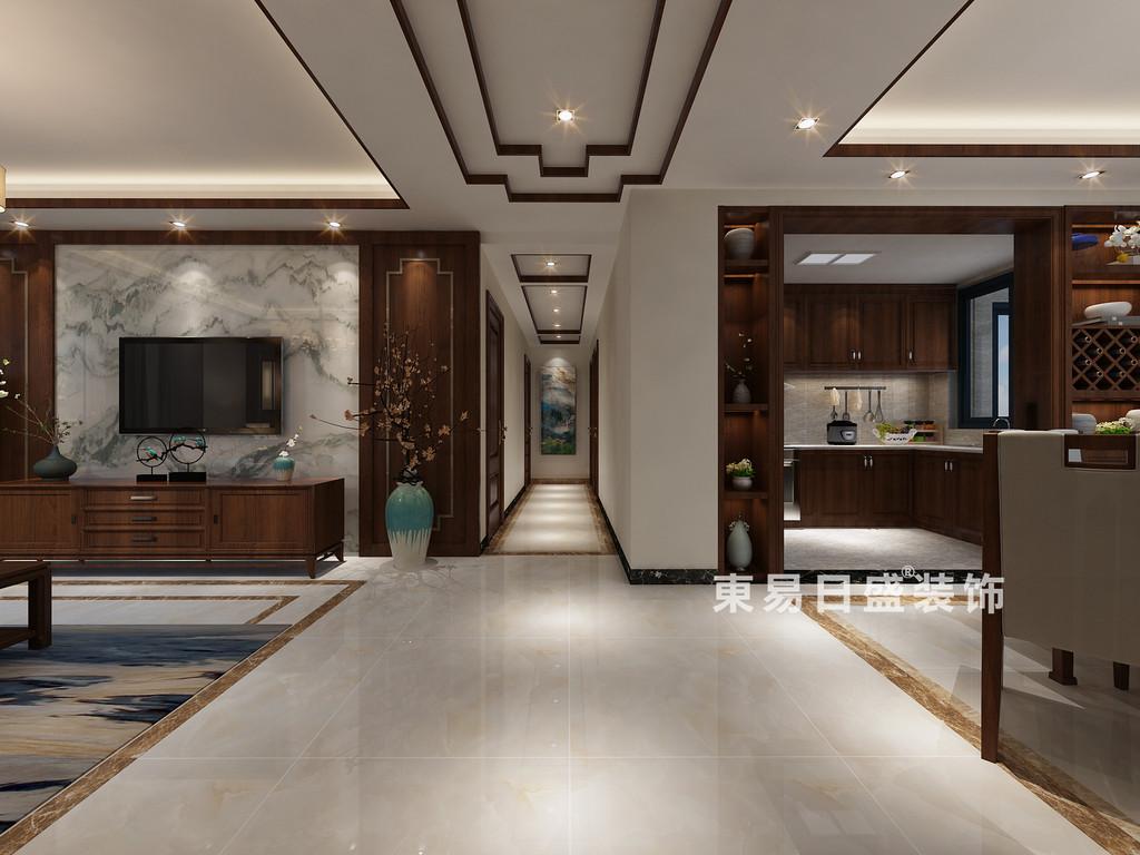桂林彰泰•清华园四居室120㎡新中式风格:过道装修设计效果图