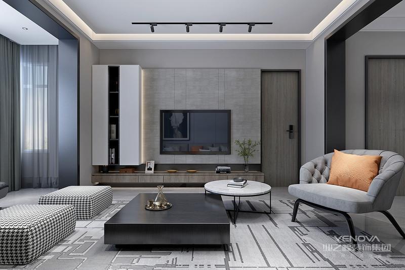 现代简约风格即用几何线条修饰,外观简洁流畅,立面立体层次感较强,外飘窗台外挑阳台或内置阳台,合理运用色块色带处理的一种装修风格。
