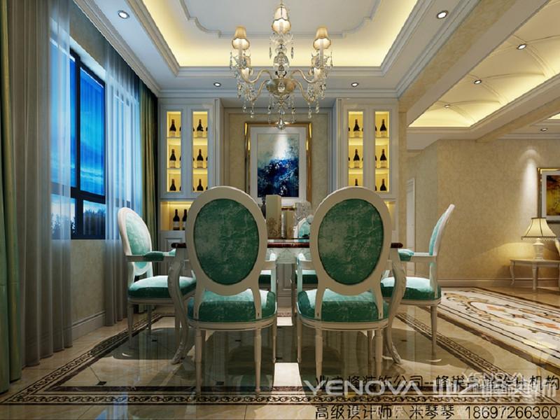 餐厅的桌子采用大理石桌面,椅子采用绒面靠椅,餐厅定制酒柜,酒柜中间搭配挂画,不失单调