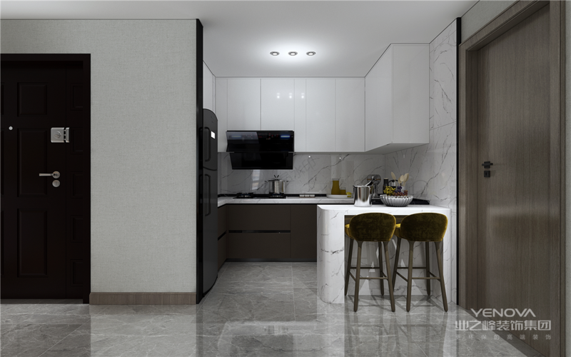 开放式厨房搭配小导台,白色配褐色 体现经典感