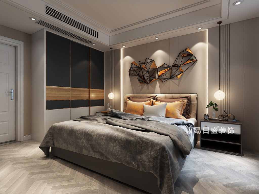 卧室整体采用雅致的灰色调,在床头背景墙上,设计师非常创意的利用灯线和几何体装饰,视觉上层次感顿显;床品上跳脱的点缀的一些黄色,色彩上的对比,点亮了空间注入活力。