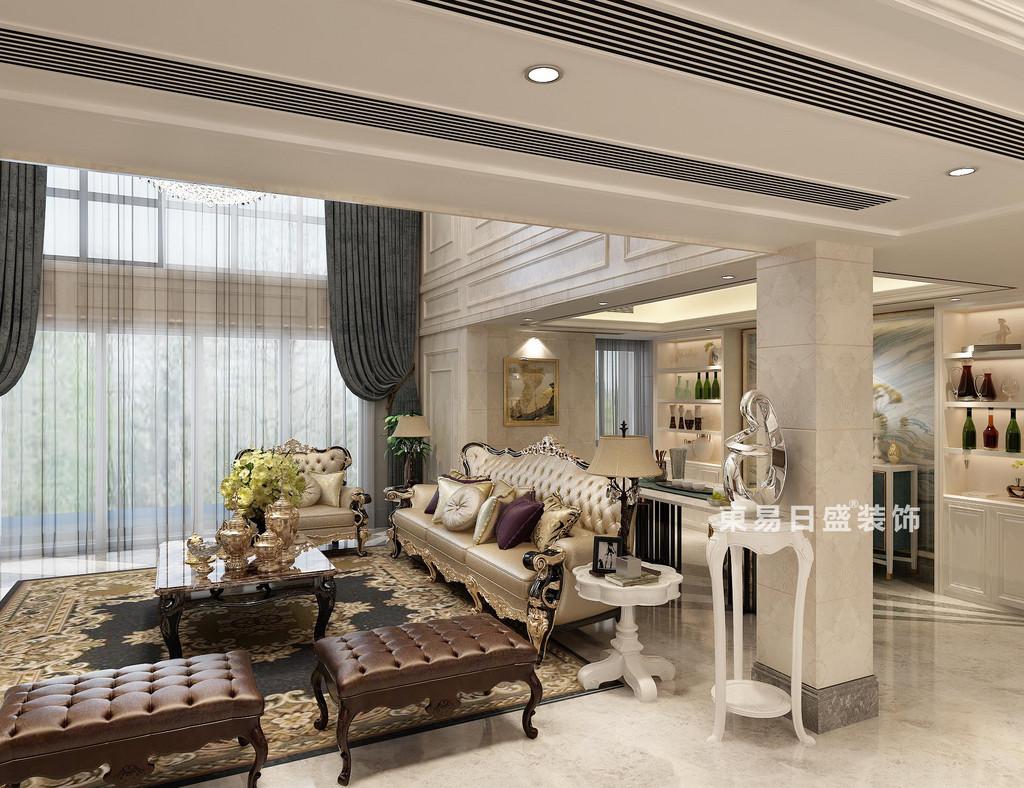 二层的墙面切分了沙发背景空间,设计师更巧妙的利用沙发后的角落打造了休闲吧台区,对称的酒柜与吧台桌均使用干净的白色,烘托着沙发组,层次与情调融为一体,并展现淋漓。