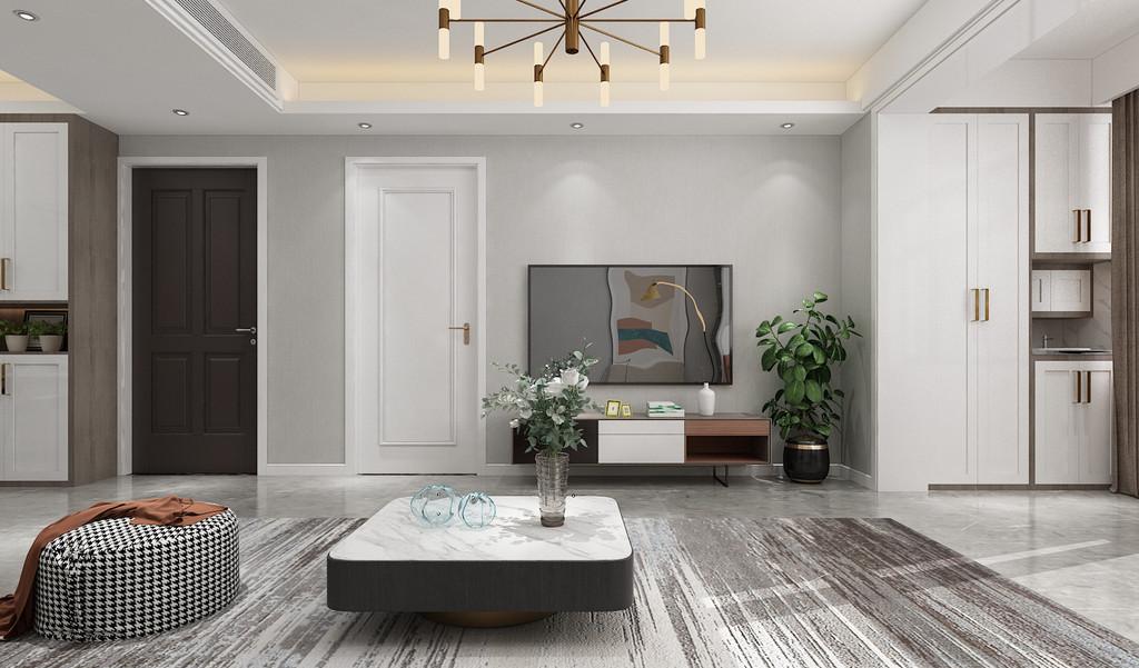 整体色调采用黑白灰,稳重大气,对比平衡,墙面和地面采用灰色调