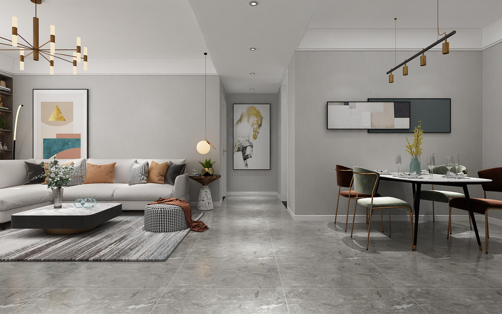 顶面和家具是白色调,软装配饰方面选用橙色作为调色,使整体空间不会沉闷,有一丝活泼,点缀整体空间色调