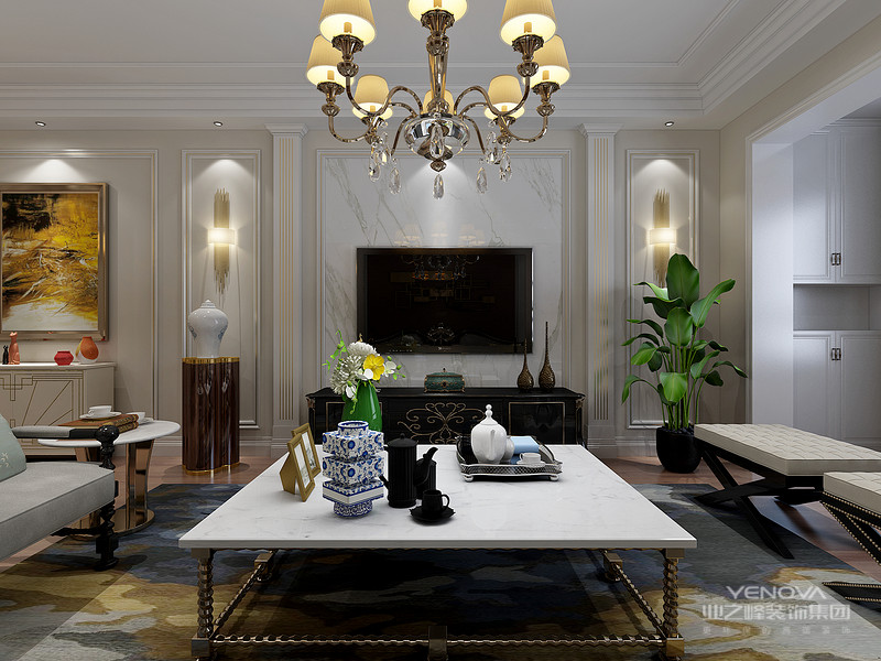 美式风格特点 客厅简洁明快 客厅作为待客区域,一般要求简洁明快,同时装修较其它空间要更明快光鲜,通常使用大量的石材和木饰面装饰