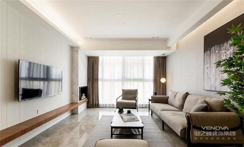 客厅的主色调选择了较为常见的白色,吊顶错落有致,配合设计感灯光让空间更具层次感。