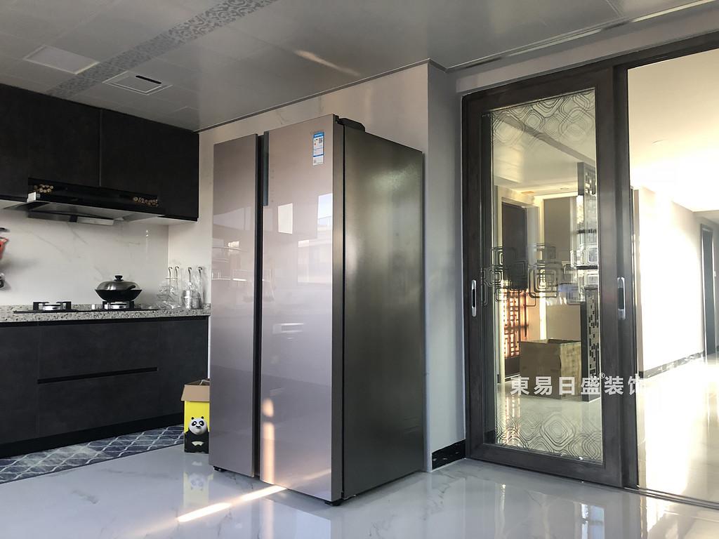 桂林安厦漓江大美顶层复式楼180㎡新中式风格:厨房炉灶装修设计实景图