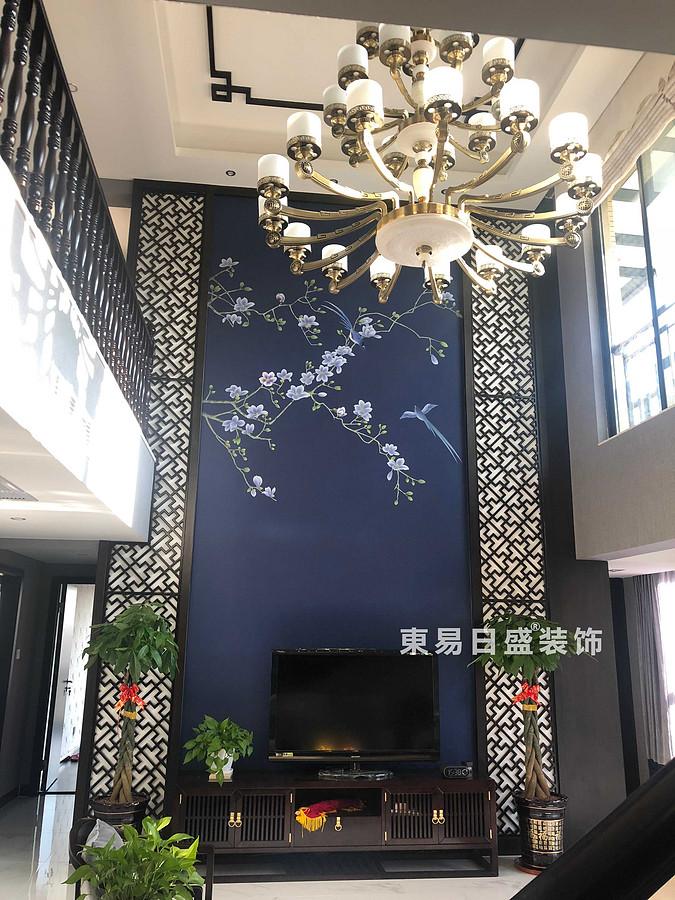 桂林安厦漓江大美顶层复式楼180㎡新中式风格:客厅吊顶装修设计实景图