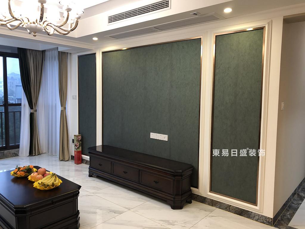 桂林彰泰•天街四居室180㎡轻美式风格:客厅电视墙装修设计实景图