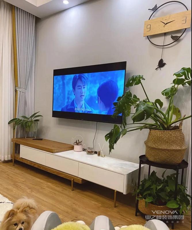 电视墙是刷的浅灰色,这种色调比较百搭,不容易出错,即便没有做什么造型,一样很大方耐看,而且不容易过时,白色和木色相结合的电视柜很有个性,这个电视柜是可以灵活伸缩的,使用起来挺方便的,旁边摆放着两盆茂密的绿植,为家里增添一丝绿意和生机。