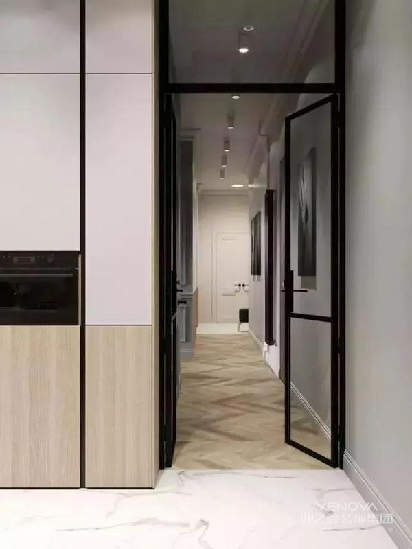 过道空间利用斜条纹地板增加延展性,整体背景采用白色,加上原木色辅之,灰色装饰画与黑框玻璃门做为点缀,整体色彩分配合理,简约高级