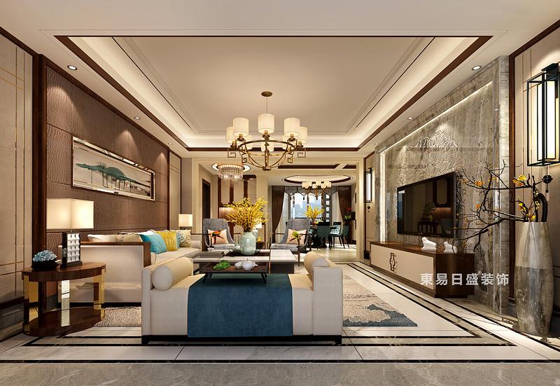 桂林彰泰•春天四居室240㎡新中式风格:客厅装修设计效果图