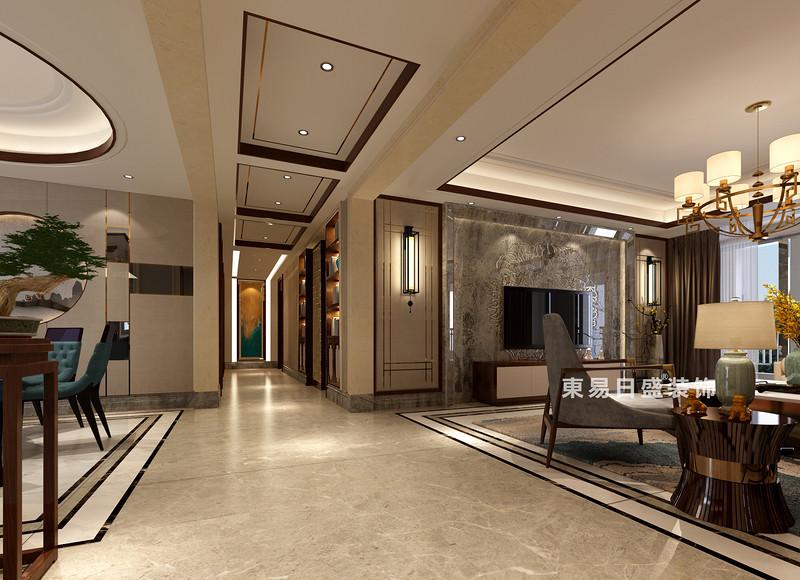 桂林彰泰•春天四居室240㎡新中式风格:客厅过道装修设计效果图