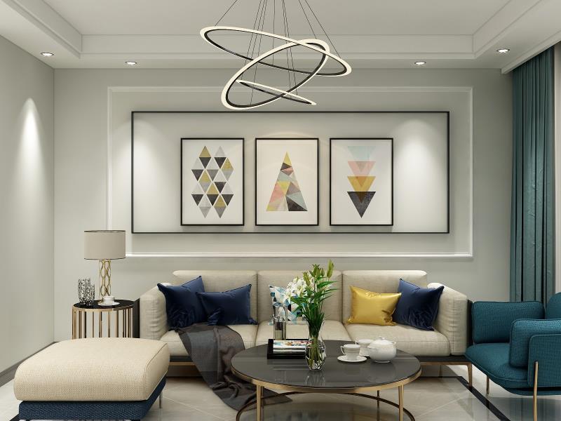沙发背景装饰画是客厅的点睛之笔,蓝色与金色的美妙碰撞,气质清奇。鲜花的装扮清新唯美。