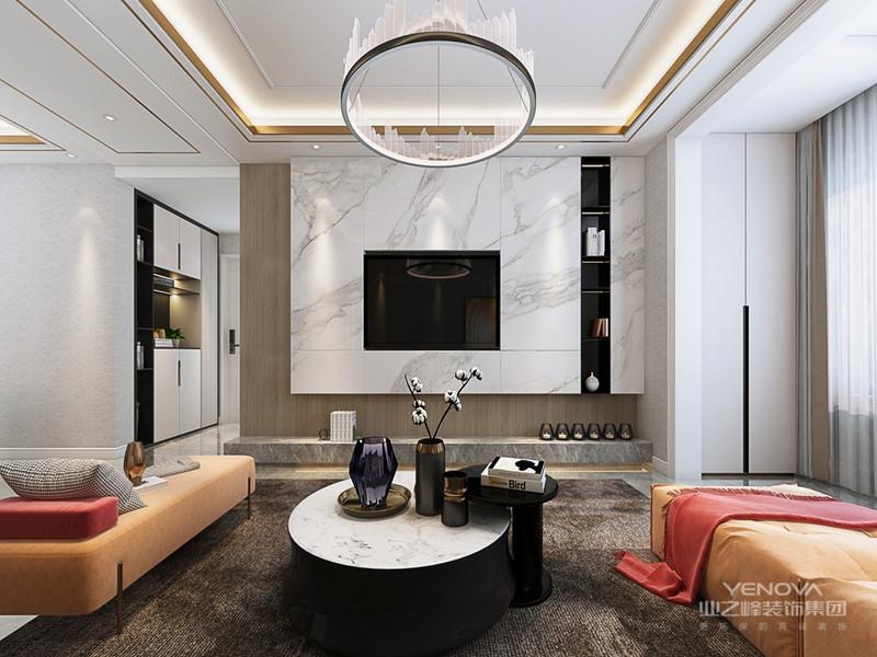 """在视觉上舍弃张扬,通过对线条与色块的巧妙应用,营造出轻松的空间氛围,传递""""轻奢华、新时尚""""的生活理念。"""