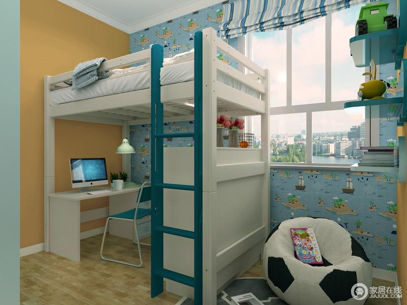 因为空间比较小所以采用的是上床下桌的设计,蓝色的壁纸童趣十足,白色的为主的家具让空间变得很干净。