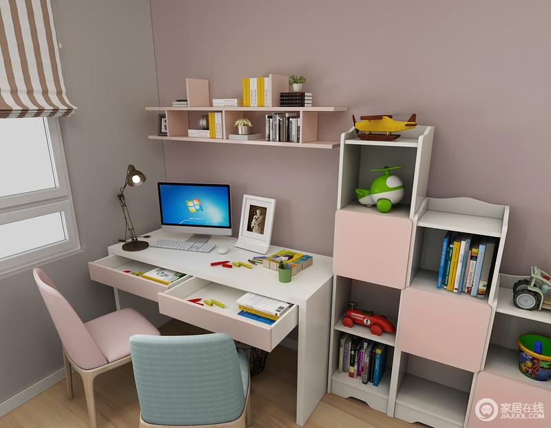 选用开放式的矮柜作为儿童房的玩具收纳柜,可以帮助孩子自己学习如何整理房间。双人大书桌的设计可以满足两个孩子的学习空间。