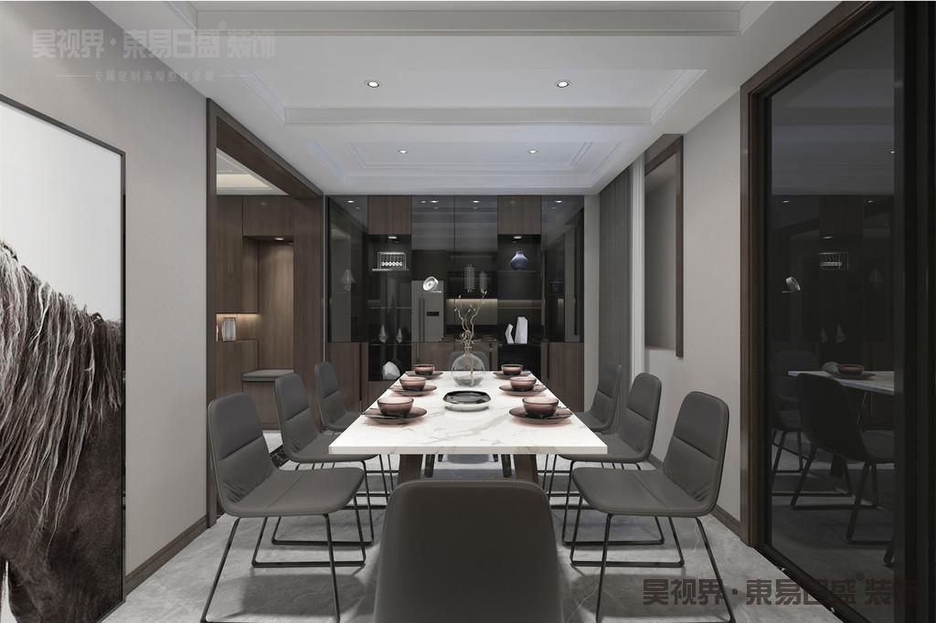 本案独特的无主灯设计,富有艺术气息的墙面挂画,营造了温馨的用餐空间。