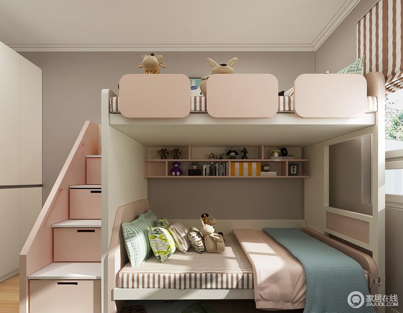 上下床的设计很好的满足了两个孩子的睡眠需求,床靠在窗户下面,阳光可以尽情的洒在床上,粉色的家具和浅灰色的墙面的设计让空间看上去非常融合。