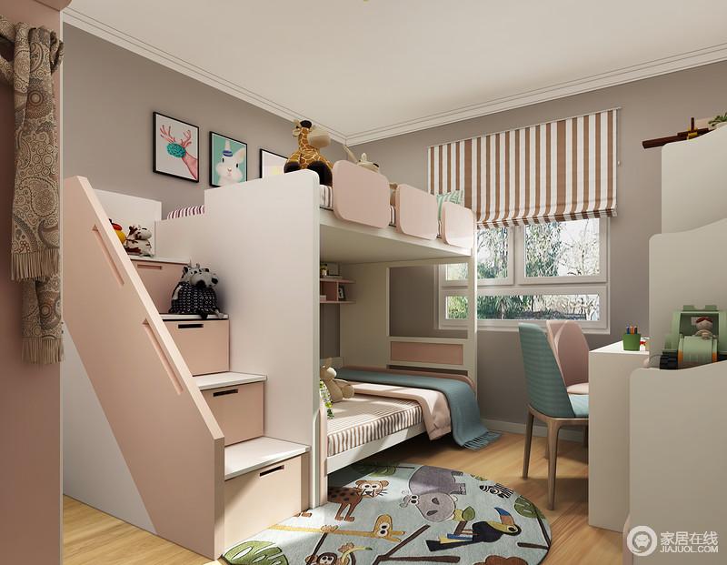 房间里的布局采用平行的方式,粉色和白色的搭配让空间看上去清新感十足,原木的地板让空间没有地砖的冰冷感,多了分温暖。