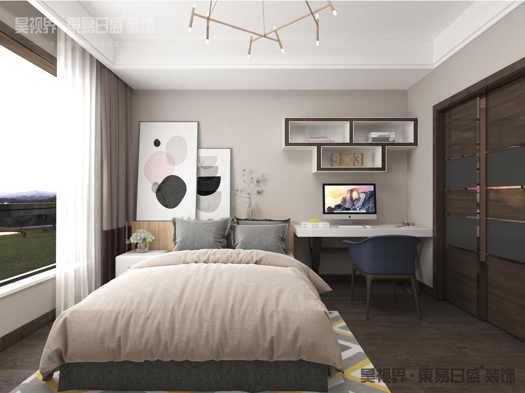 卧室同样保持轻松自然的舒适氛围,配色简洁素雅,色调沉稳宁静。