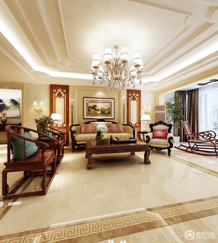 客厅的背景墙以石材框建出了几何造型,并搭配简欧浮雕壁纸与棕色木质造型结构成就空间的暖调;一组欧式沙发搭配中式圈椅,混搭出了东西方艺术之美,给予家不一样的设计感。