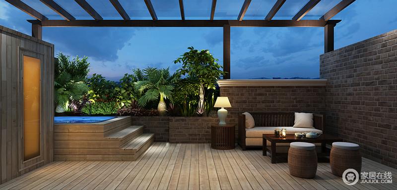 别墅的楼台被设计为朴质的田园风,从石墙的堆砌中便可回味乡村的朴素基调,没有太过夸张的形式,以石以木营造出生活的真情实感;实木家具和藤制座椅质感精致,与绿植带来田园隽意。