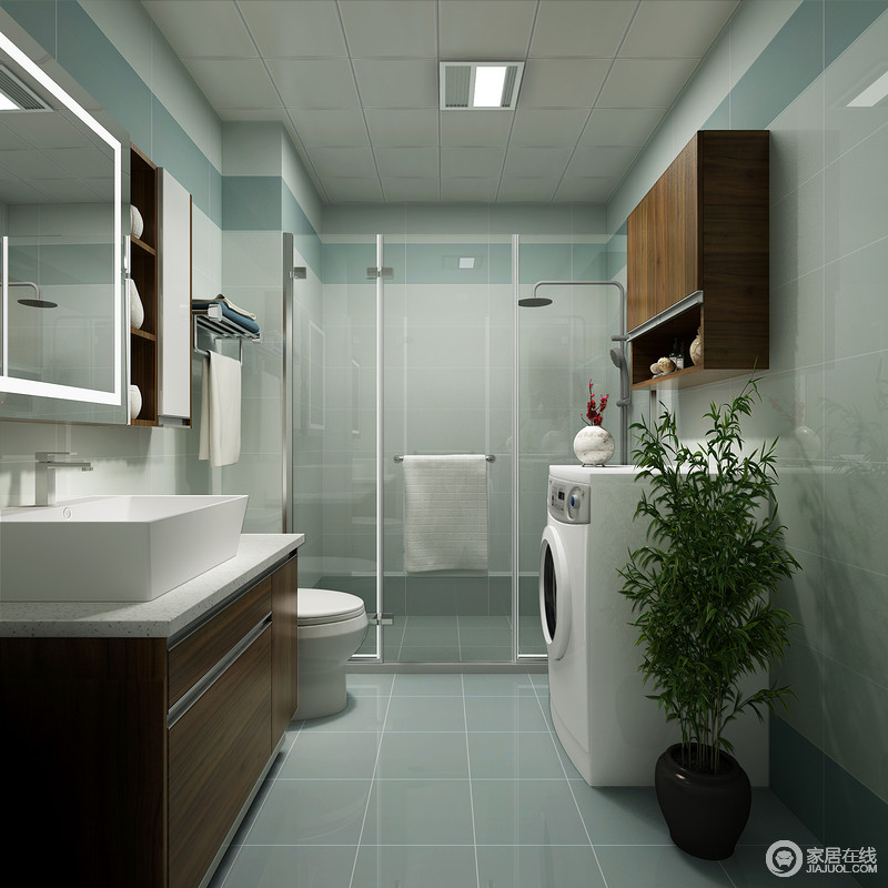 卫生间为了将解决干湿问题,利用玻璃淋浴房区分空间,做到独立性;蓝色系的砖石因为色彩的原因,造就了空间的清新和大气,盥洗柜组合既实用又利落,为主人的日常生活提供极大的舒适感和便捷性。