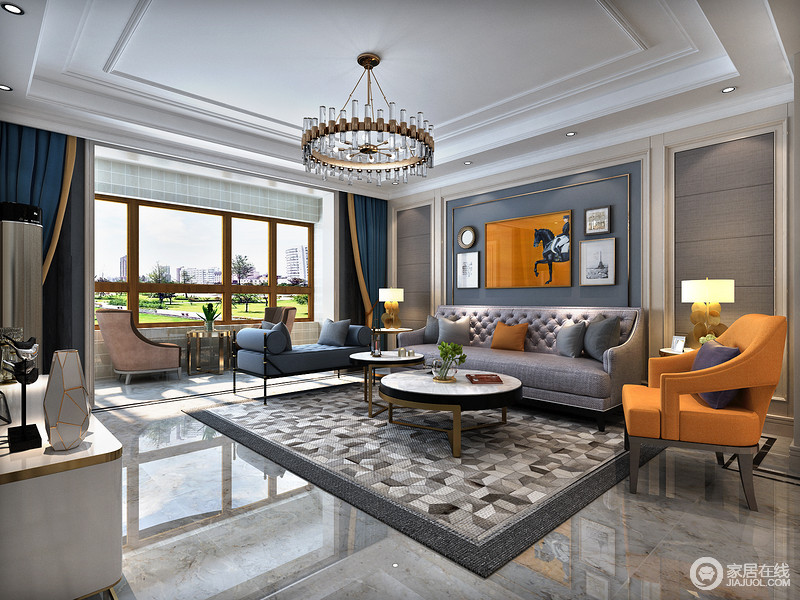 客厅中沙发背景墙背景墙以爱马仕橙,与椅子的橙呼应,给予素蓝的空间一丝摩登。