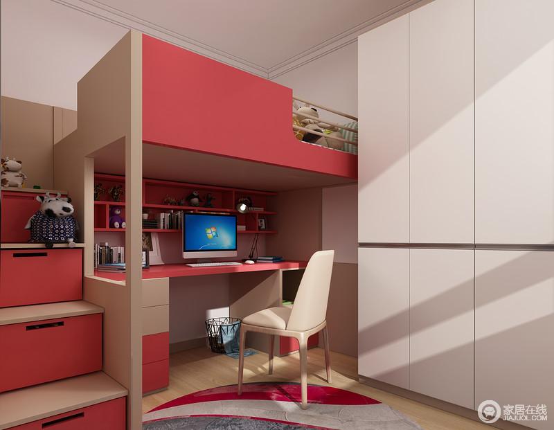 由于空间比较小,所以采用的是上床下桌的设计,红色和灰色穿插的设计让空间富有层次感。木色地板上附上地毯可以在地上尽情的玩耍。