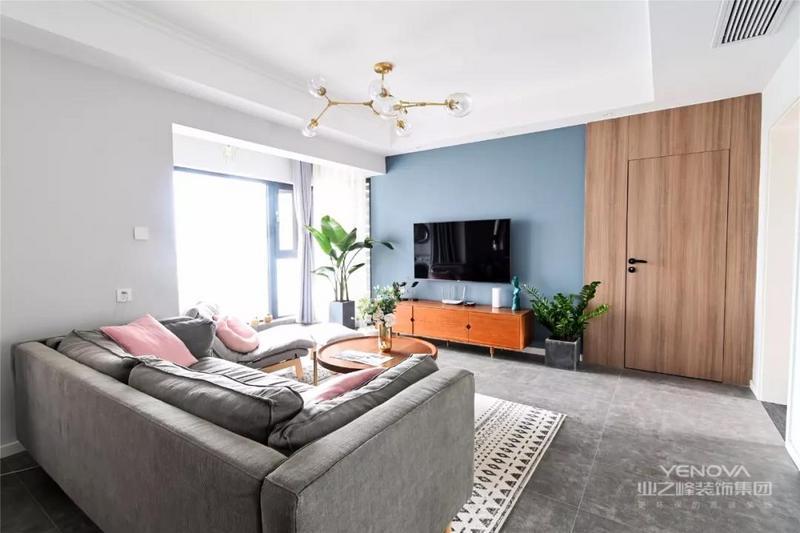 电视背景墙没有做任何造型,简单的灰蓝色漆搭配上木饰面,显得很耐看。自由生长的清新绿植,使家中富有生活气息。