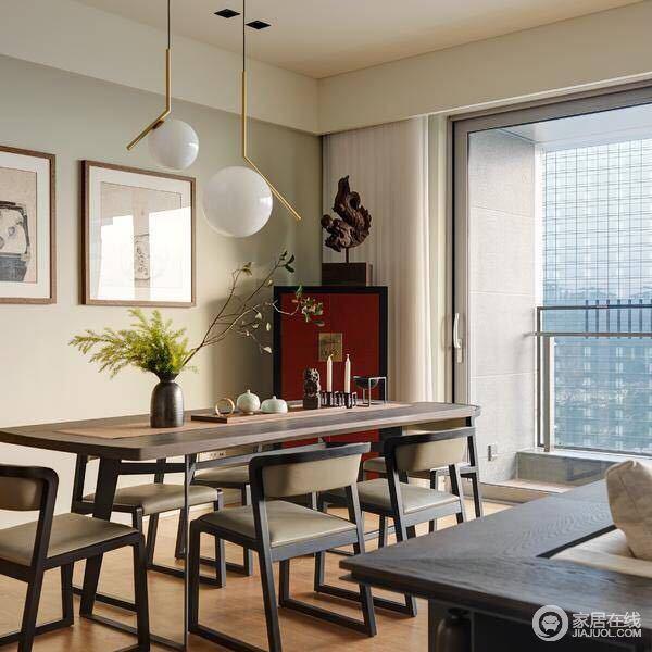 餐厅,结合中式家具曲度,现代设计流线造型,展现东西合璧,现代,传统兼具的美型特质,让长窗景观,成为最佳空间装饰。