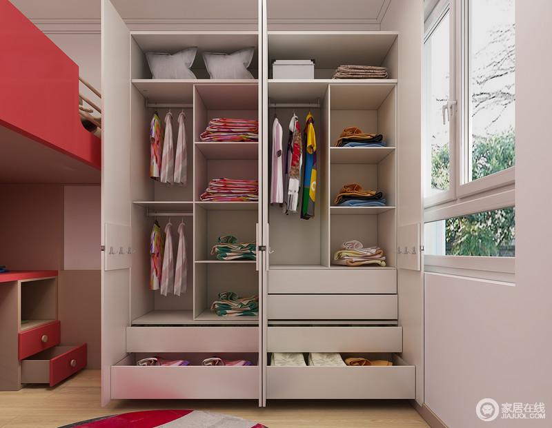 双层挂衣杆+多层抽屉+多层隔板,让整个衣柜空间能得到充分利用!可以很好的锻炼孩子的整理收纳能力。