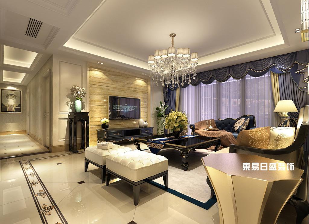 桂林彰泰•清华园四居室140㎡简约欧式风格:客厅电视墙装修设计效果图