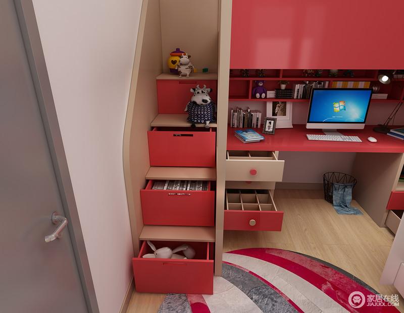 屉柜是上下床的好帮手,也是超能储物空间。贴墙的设计还可以很好的提供海西上下床的安全性。