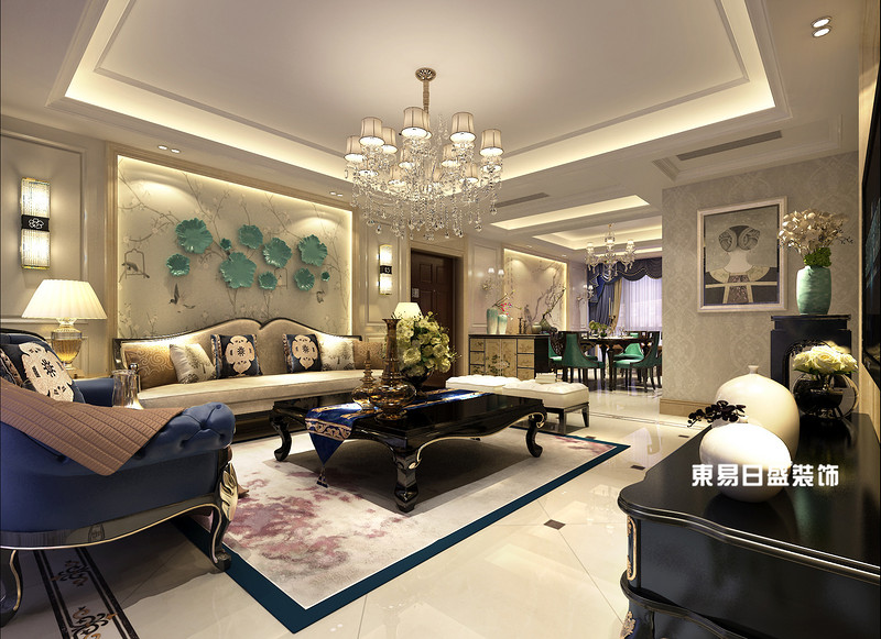 桂林彰泰?清華園四居室140㎡簡約歐式風格:客廳裝修設計效果圖