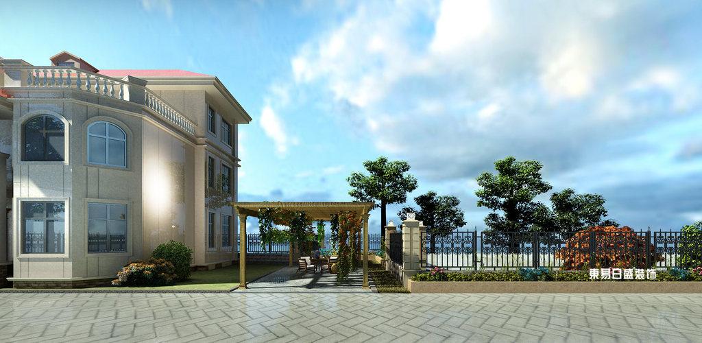 桂林市自建別墅700㎡混搭風格:外景園林裝修設計效果圖