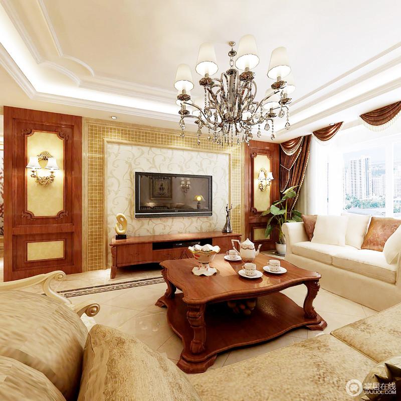 客厅的白色吊顶搭配背景墙的金色小砖、壁纸,调和了十分温馨的生活氛围,水晶灯中和挑高之余,搭配米驼色的布艺沙发,足显复古、大气。