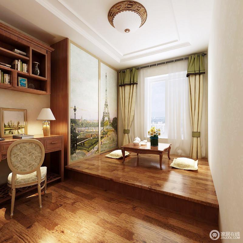 """书房白色的吊顶和大白墙,给人干净利落的感觉,榻榻米的木质和地板异曲同工之妙,赋予空间木的温实;衣柜的背景墙是风景胜地,寓意""""自然之美"""",书柜搭配书桌的设计,让生活格外朴质实用,古典风的木椅带来些许温雅。"""