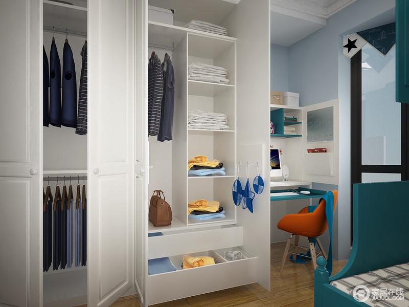发挥储物衣柜的最大作用,就要把空间分区,悬挂与摆放。上部空间利于悬挂大衣等不便叠放的衣物,下部空间可以摆放衣箱,根据上面剩余的空间高度决定衣箱的高度。