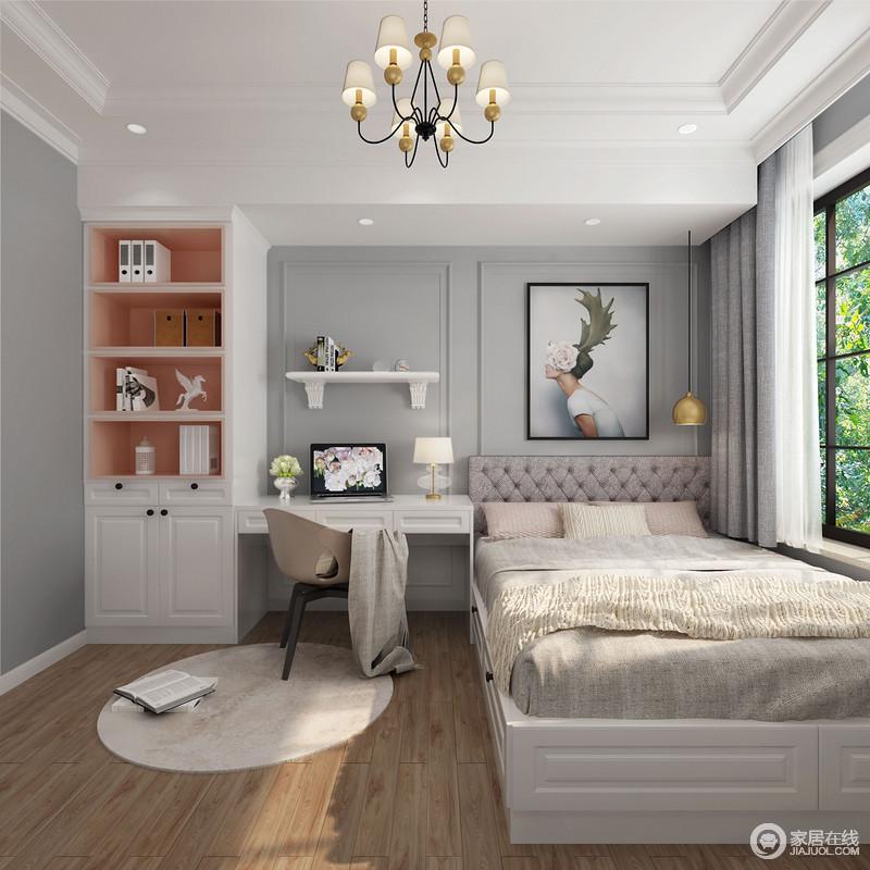 儿童房白色吊顶与灰色墙面的用色,给人一种清净,毫无压力感;根据空间结构增加了一体式书柜,解决了孩子的学习需要,并与挂画和墙面收纳架让空间轻盈,孩子生活的十分幸福。