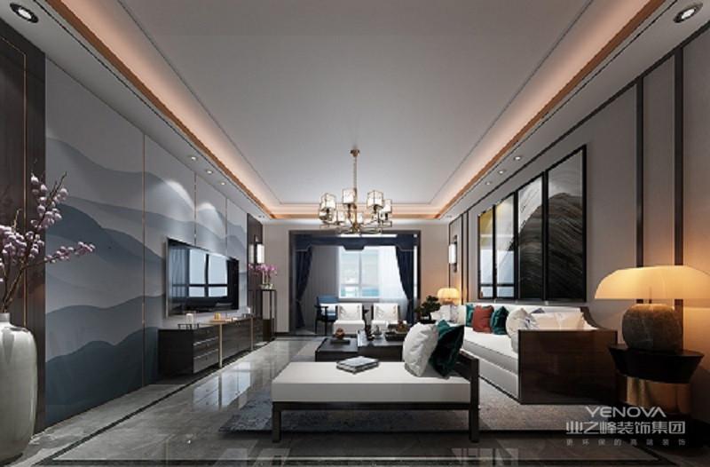 客厅的一个重要功能是业主用来会友,设计把客厅定向为方正的大客厅,让空间尽量做到开阔。这个项目的设计风格是新中式风格,在选择家具以及软装上花了大量心思和时间,