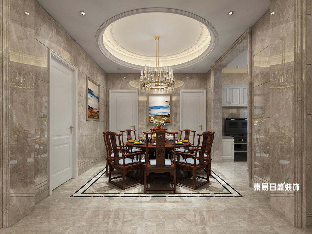 桂林市自建别墅700㎡混搭风格:餐厅装修设计效果图