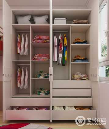 双层挂衣杆+多层抽屉+多层隔板,让整个衣柜空间能得到充分利用!很好的锻炼了孩子的收纳整理能力。